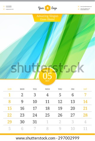 Wall Calendar 2016. May. Vector Template with Abstract Background. Week Starts Sunday - stock vector