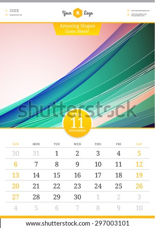 Wall Calendar 2016. November. Vector Template with Abstract Background. Week Starts Sunday - stock vector