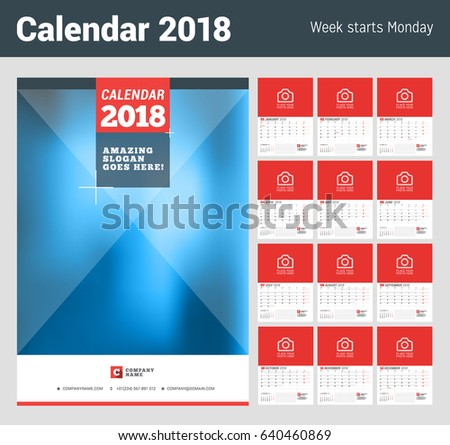Wall Calendar Planner for 2018 Year. Set of 12 Months. Vector Print Template with Place for Photo. Week Starts on Monday. 2 Months on Page
