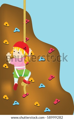 Wall climbing sports , girl is climbing a wall , with space for text in a plain area
