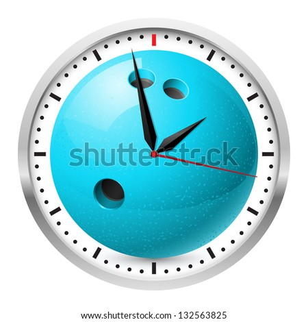 Wall clock. Bowling style. Illustration on white background for design