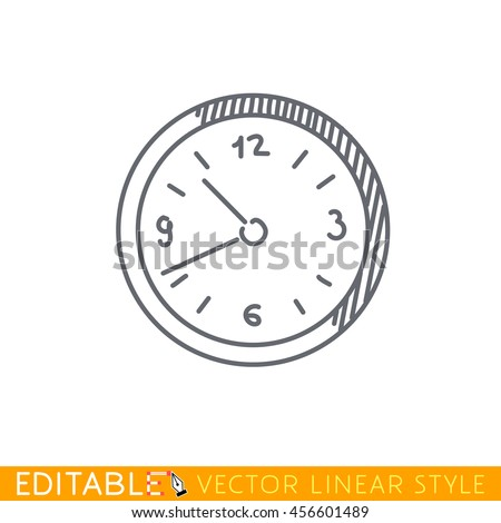 Wall clock icon. Editable vector graphic in linear style. - stock vector