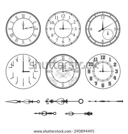 Wall clock set - stock vector