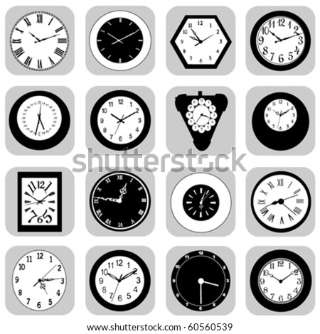 wall clock set - stock vector