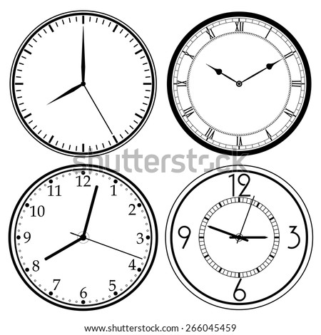 Wall Clock template set, retro analog, clock-face, dial, precision roman style - vector illustration