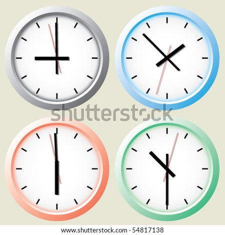 Wall clock. Vector. - stock vector