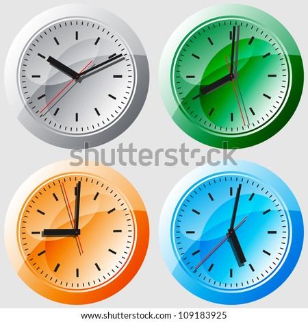 Wall clock. Vector illustration. Image of clock face. The device displays the hours, minutes, seconds. Save your time. Timing is everything.