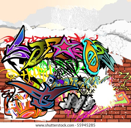 wall covered with layers of graffiti: many layers of texture and decoration - stock vector