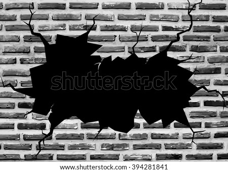 Wall Cracked with Black Hole for Text or Background - Vector Illustration