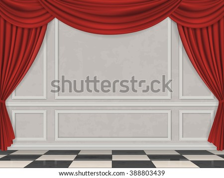 Wall decorated moulding panels, checkered floor and red curtain. Vector interior background. - stock vector