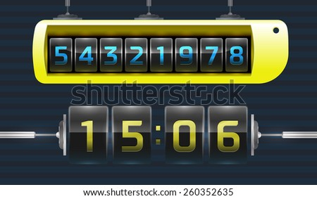 Wall flap clock, number counter template - stock vector