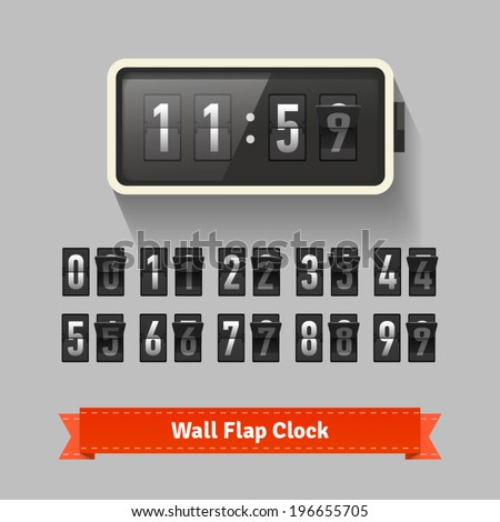 Wall flap clock, number counter template, all digits with flips. Also suitable for 2014-2015 countdown. Highly editable EPS10. - stock vector