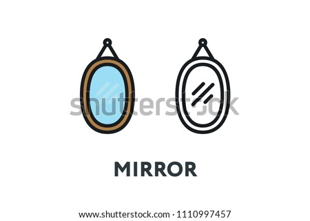 mirror frame outline. Wall Frame Mirror Reflection. Interior Furniture Concept. Minimal Color Flat Line Outline Stroke Icon G