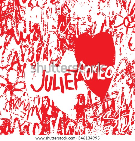 Wall full of messages from lovers in Juliet's House, Verona, Italy. Vector illustration.  Can be used for t-shirt, textile, greeting card. souvenirs. St. Valentine's Day illustration.  - stock vector