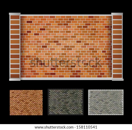 Wall made of bricks of different colors - stock vector