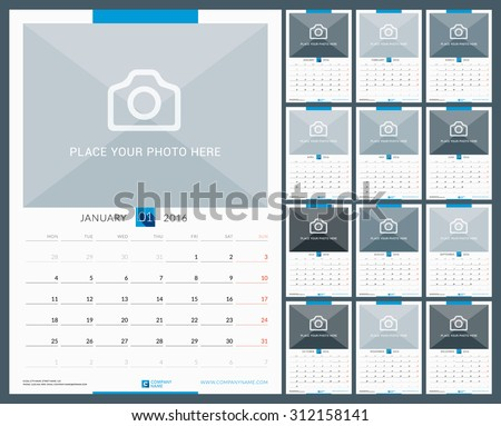 Wall Monthly Calendar for 2016 Year. Vector Design Print Template with Place for Photo. Week Starts Monday. Portrait Orientation. Set of 12 Months - stock vector