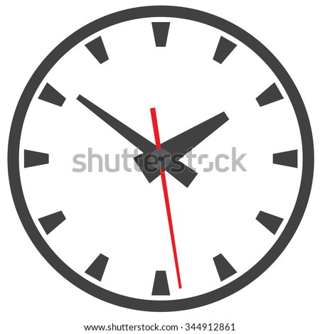Wall mounted analog clock. Clock. Picture hours. Watch for wall mounting. Image hours. Digital Watch. Dial hours. Clock hands. The clock shows the time. Hours minutes. - stock vector