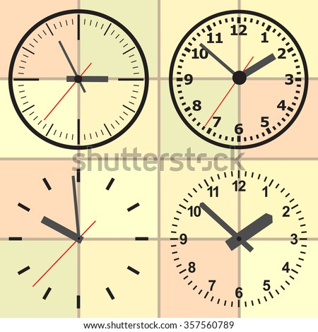 Wall mounted analog clocks. Clock. Picture hours. Watch for wall mounting. Image hours. Digital Watch. Dial hours. Clock hands. The clock shows the time. Hours minutes. - stock vector