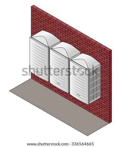 Wall-mounted home batteries. - stock vector