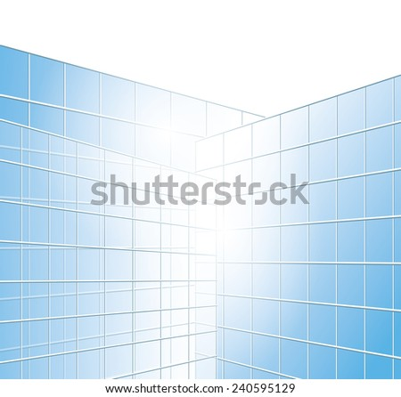 wall of buildings - blue windows - vector - eps 10 - stock vector