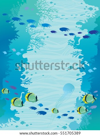 Wall of coral reef and school of butterfly-fish on a blue sea background. Seascape vector illustration. Underwater marine life.