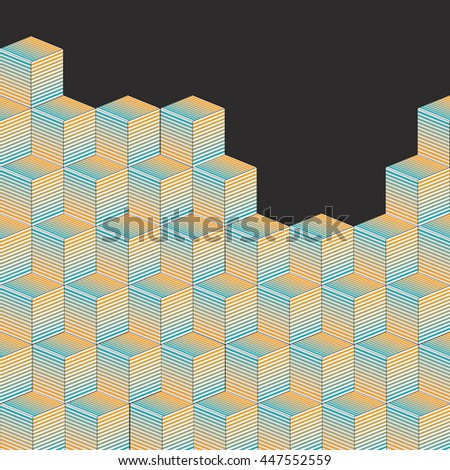 Wall of cubic shapes