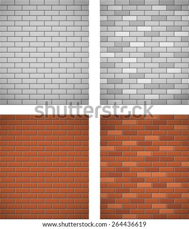 wall of white and red brick seamless background vector illustration - stock vector