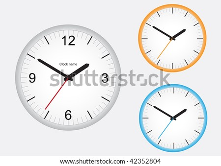 Wall office clock isolated on a white background - stock vector