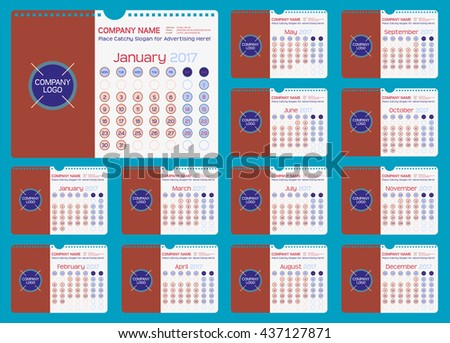Wall or Desk Monthly Calendar for Year 2017. Vector Design Template with Space for Photo and Corporate elements. Landscape Orientation. Set of 12 Months. Week starts monday.