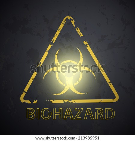 wall with a picture of the biohazard symbol - stock vector