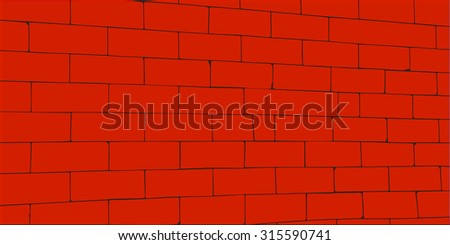 wall with massive red blocks - stock vector