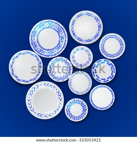 Wall with plates. The background plates on the wall. Chinese blue color. Dishes with ethnic pattern Gzhel. - stock vector
