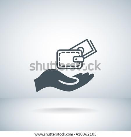wallet and hand web icon. vector design - stock vector