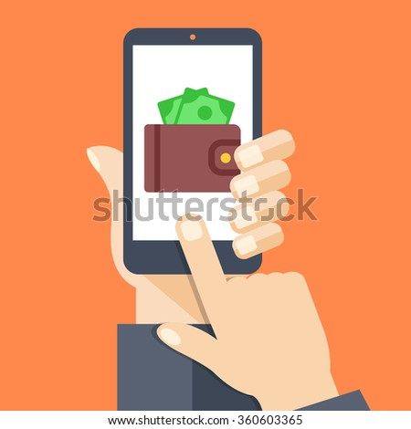 Wallet app page on smartphone screen. Hand hold smartphone, finger touch screen. Mobile wallet account. Modern concept for web banners, web sites, infographic. Creative flat design vector illustration - stock vector