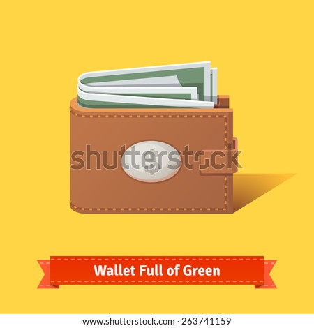 Wallet full of green dollars. Flat style vector illustration. - stock vector