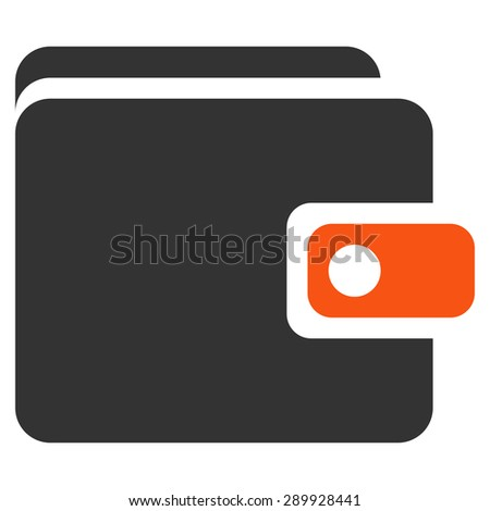 Wallet icon from Business Bicolor Set. This flat vector symbol uses orange and gray colors, rounded angles, and isolated on a white background. - stock vector