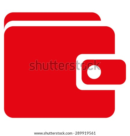 Wallet icon from Business Bicolor Set. This flat vector symbol uses red color, rounded angles, and isolated on a white background. - stock vector