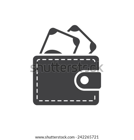 Wallet icon, modern flat design - stock vector