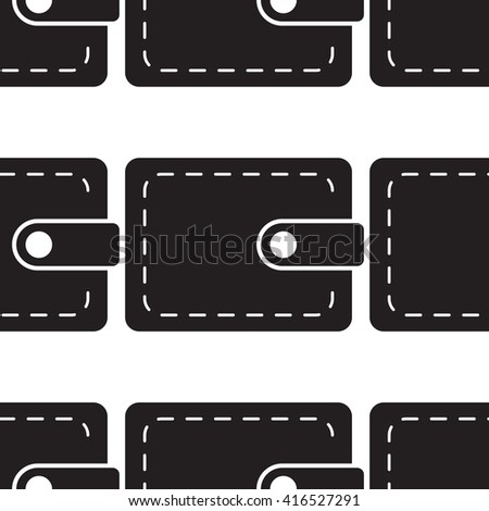 wallet icon  seamless pattern, pouch vector illustration flat design black pictogram isolated on white background