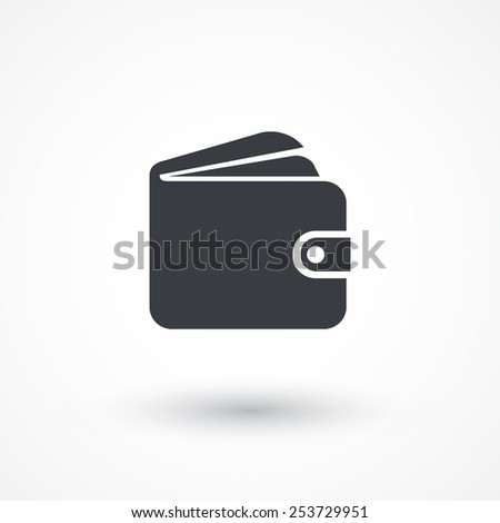 Wallet icon, vector illustration. Flat design style - stock vector
