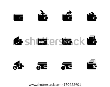Wallet icons on white background. Wallet with cash icon. Vector illustration. - stock vector
