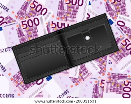 Wallet on a five hundred euro banknotes background. Vector illustration.