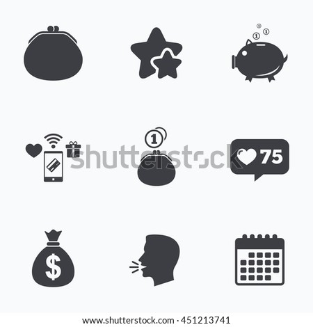 Wallet with cash coin and piggy bank moneybox symbols. Dollar USD currency sign. Flat talking head, calendar icons. Stars, like counter icons. Vector - stock vector