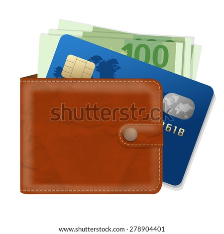 Wallet With Credit Card And Money With Gradient Mesh, Vector Illustration - stock vector