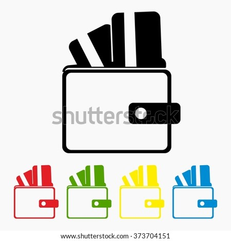 Wallet with credit cards inside. Flat icon modern design style vector illustration of internet banking transaction, secure money transfer using credit card, online financial business operations.  - stock vector