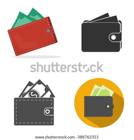 Wallet with money - stock vector