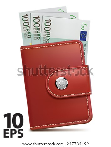 Wallet with money, isolated. Vector illustration - stock vector