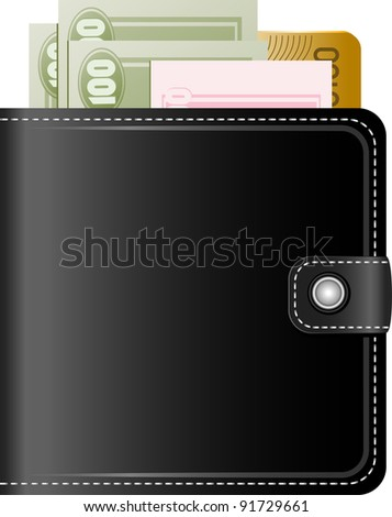 Wallet with money on a white background - stock vector