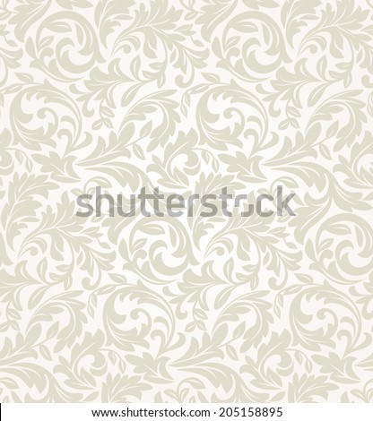 Wallpaper and tile in the style of Baroque. A seamless vector background. Bright floral pattern on a beige background. - stock vector