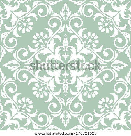 Wallpaper and tile in the style of Baroque. A seamless vector background. Damask floral pattern.Green and white texture. - stock vector